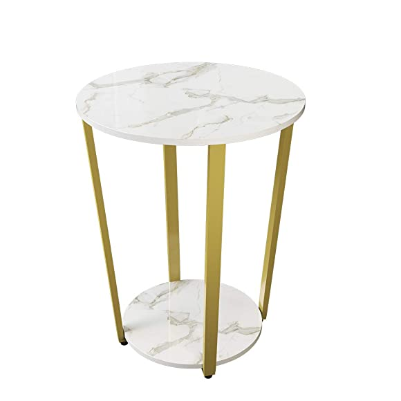 GHQME 2-Tier Round End Table Side Table for Living Room Round Sofa Table with Storage Rack Stable and Sturdy Construction Easy Assembly MDF Metal White