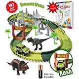 Dinosaur Toys - Slot Car Race Track Sets Jurassic World With Flexible Tracks 2 Dinosaurs Bridge + Coloring Book Create A Road 142 Pcs Car Track Toys Playset 1 2 3 Year Old Boys Girls Toddlers Gifts