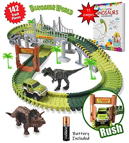 Dinosaur Train track toy Car 142 pieces Flexible Tracks Jurassic race track world Kit includes 2 Dinosaurs, Bridge, Toy Car Play-set, legos type for boys age 4-7 Years Dinosaur Toys for Boys Girls ()