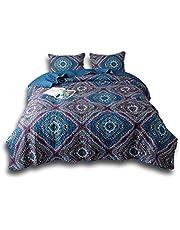 DaDa Bedding Bohemian Native Rustic Navy Blue Geometric Diamond Bedspread Set - King - 3-Pieces