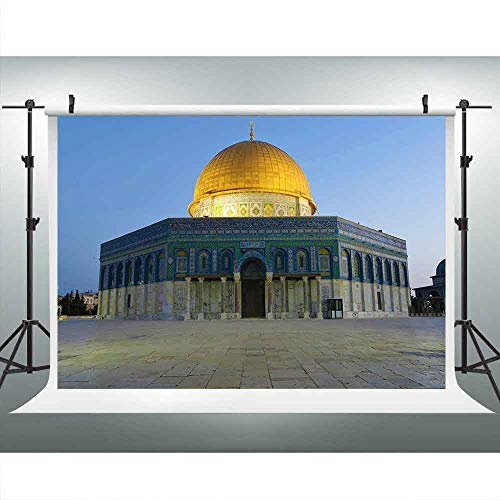 Al Aqsa Mosque Golden Dome Jerusalem Backdrop for Photography, Old Jerusalem Israel Dome of The Rock Background, 9x6FT, Photo Booth Picture Props DSLU494