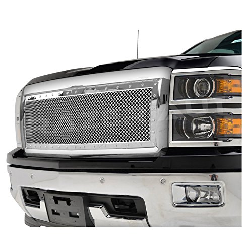 Razer Auto Chrome Rivet Studded Frame Mesh Grille Complete Factory Replacement Grille Shell for 2014-2015 Chevy Silverado 1500