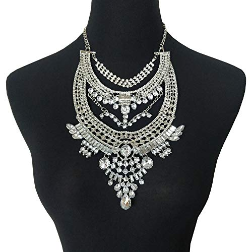 NABROJ Women Statement Necklace, Bib Necklace for Women Fashion Necklace Retro Style Indian Jewelry Silver 1PC with Gift Box-RC06 White ()