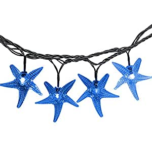 Isightguard Original Starfish Solar String Lights 16ft 30 LEDs Waterproof Fairy Christmas Lights Decorative Lighting for Gardens,Patio,Lawn,Yard,Wedding,Party and Holiday Decorations (Blue)
