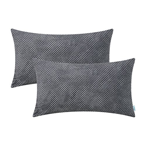 CaliTime Pack of 2 Comfy Bolster Pillow Covers Cases for Couch Sofa Bed Comfortable Soft Solid Corduroy Pineapple Trellis Both Sides 12 X 20 Inches Medium Grey