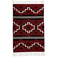 NOVICA Red Geometric Zapotec Wool Area Rug (4 x 6), Red Fire Crosses