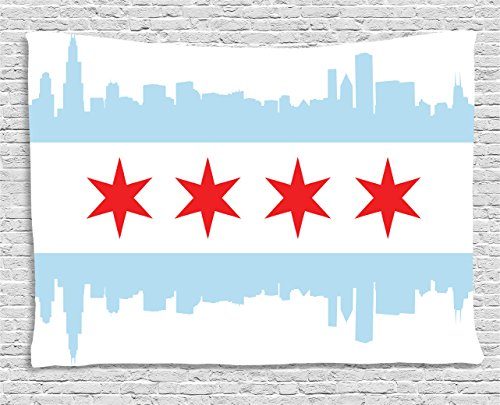 Ambesonne Chicago Skyline Tapestry, City of Chicago Flag with High Rise Buildings Scenery National, Wide Wall Hanging for Bedroom Living Room Dorm, 80