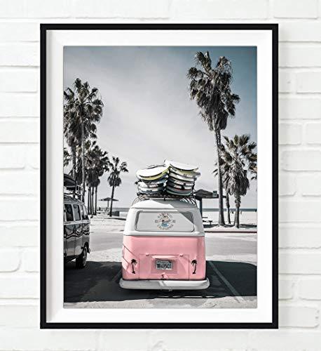 Volkswagen Vw bus van at beach ocean nautical photography print - UNFRAMED - coastal palm trees home and wall decor, All Sizes - Trees Coastal Decor Palm