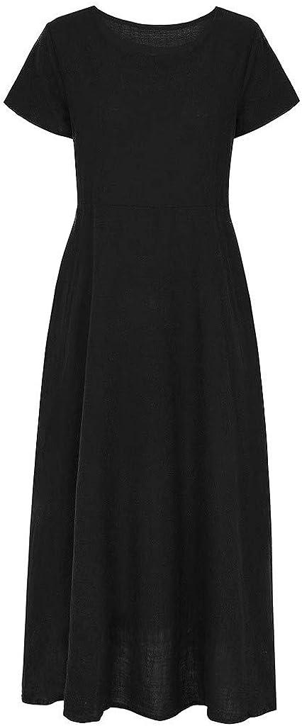 Handyulong Womens Dress Summer Vinatge Solid Color Pockets Cotton Linen Dress Teen Girls Casual T-Shirt Beach Sundress