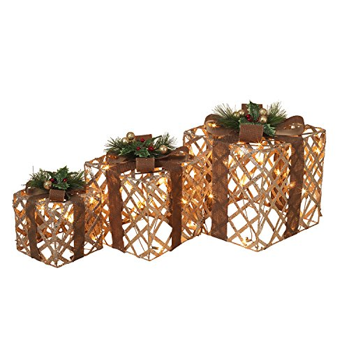 3 Assorted Lighted, Glittering Outdoor Gift Boxes, Electric by The Gerson Company