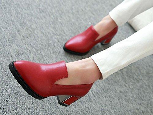 Aisun Womens Vintage Comode Scarpe Basse A Punta Svasata Slip On Mocassini Con Tacco Grosso Tacchi Gattino Rosso Scarpe