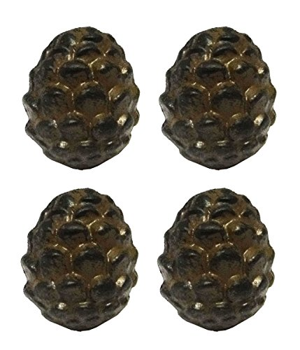 Rustic Pine Cone Metal Drawer Pulls or Bars (Set of Four Knobs) - Pinecone Pull