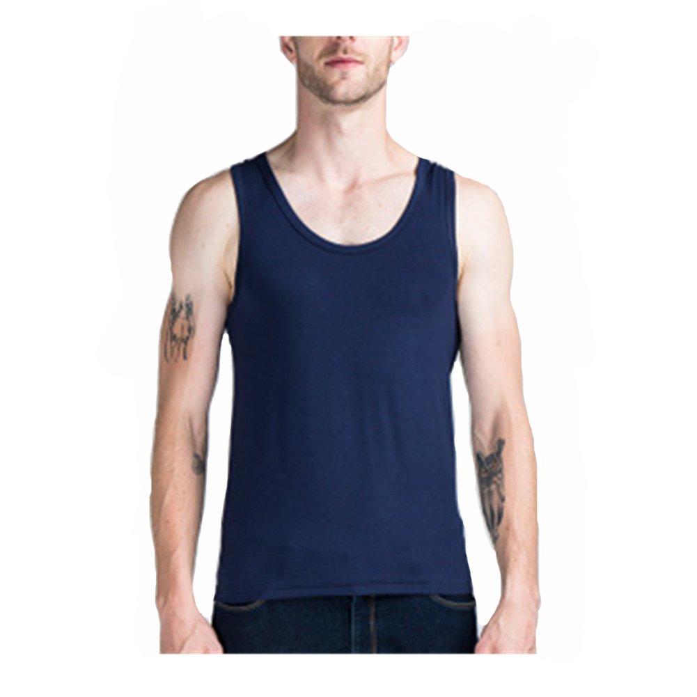 Mens Tank Tops -DOTBUY Men's Pure Cotton Vests Bodybuilding Training Gym Basketball Underwear Basic Plain Color Casual Undershirt (M, black)