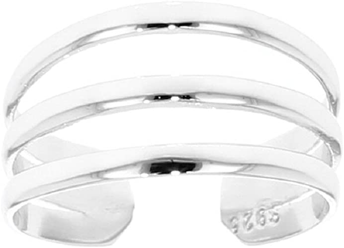 925 Sterling Silver With Rhodium Finish Shiny Cuff Type Open 3-row Toe Ring With 3-white Cubic Zirconia