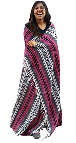 Price comparison product image Classic Striped Car Blanket Yoga Pilates Throw Beach Afghan Rug Pink Fuscia Mat
