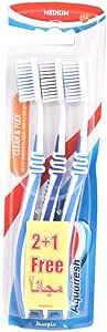 Aquafresh Clean & Flex Medium Toothbrush Triple pack (2+1), Multi Color