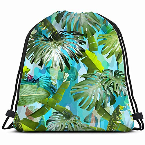 - Tropical Leaves Camouflage Green Beach Nature Drawstring Backpack Bag For Kids Boys Girls Teens Birthday, Gift String Bag Gym Cinch Sack For School And Party