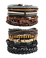 REVOLIA 10-15Pcs Mens Womens Leather Bracelets Wooden Beaded Bracelets Braided Cuff