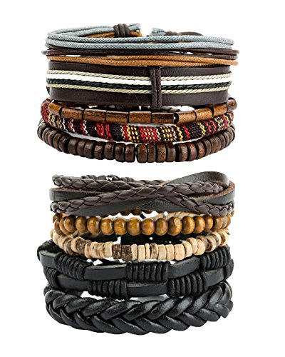 REVOLIA 10Pcs Mens Womens Leather Bracelets Wooden Beaded Bracelets Braided Cuff REVOLIA