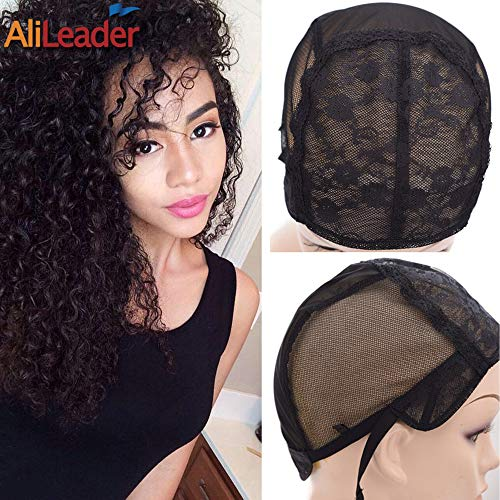 Black Double Lace Wig Caps For Making Wigs Hair Net with Adjustable Straps Swiss Lace Small Size from AliLeader