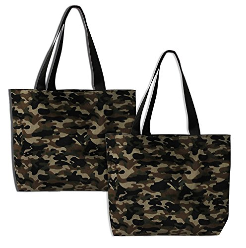 Earthwise Camouflage Camo Bag Tote Fashion Shopping Everyday Reusable Grocery Bag PROUDLY MADE IN THE USA (Set of 2) -