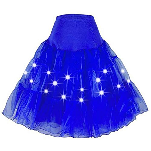 80s Prom Queen Costume - ZTL Women's Long LED Light Up Tutu Skirt for Halloween Party Stage Show Club
