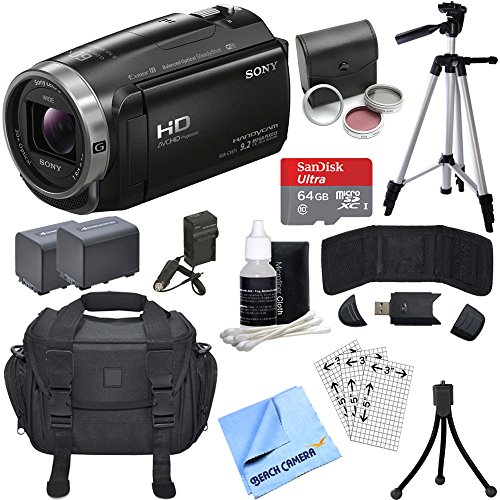 Sony HDR-CX675/B Full HD Handycam Camcorder Deluxe Bundle includes HDR-CX675/B Handycam, Filter Kit, Battery x 2, Charger, 64GB microSDXC Memory Card, Tripod, Cleaning Kit, Beach Camera Cloth & More! by Beach Camera
