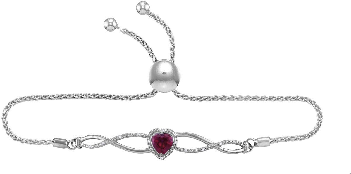 Sterling Silver Womens Round Lab-Created Ruby Bolo Fashion Bracelet 1/2 Cttw
