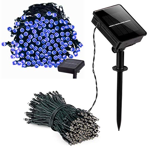 100 Blue Solar Powered Led Outdoor String Fairy Lights in US - 9