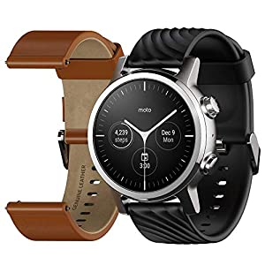 Moto 360 3rd Gen 2020 – Wear OS by Google – The Luxury Stainless Steel Smartwatch with Included Genuine Leather and High…