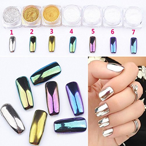 Qingsun 7pcs/set Mirror Nail Powder Chrome Nail Pigment Shin