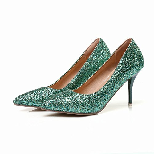 Womens High Pumps Pointed Shoes Sequins Heels Stilettos Chic Green Toe Carolbar d1Fnqd