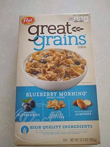 Post Great Grains Blueberry Morning Cereal, 13.5-Ounce Boxes (Pack of 4)