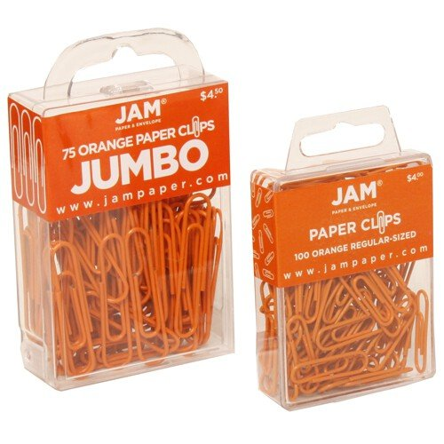 JAM Paper Colored Jumbo Paper Clips - Orange Paperclips - 75/pack Photo #3