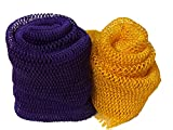 Nature by EJN - Soft Net Bath Sponge, (40' (2 Pack), Purple & Yellow)