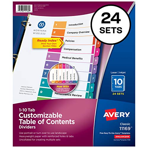 Avery Ready Index 10-Tab Binder Dividers, Customizable Table of Contents, Multicolor Tabs, 24 Sets (11169) ()