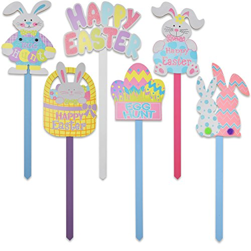 Set of 6 Wooden Happy Easter Yard Stakes Spring Outdoor Garden Sign Banner Decorations Bunny & Egg Hunt for Home Sidewalk Lawn & Patio by Gift Boutique