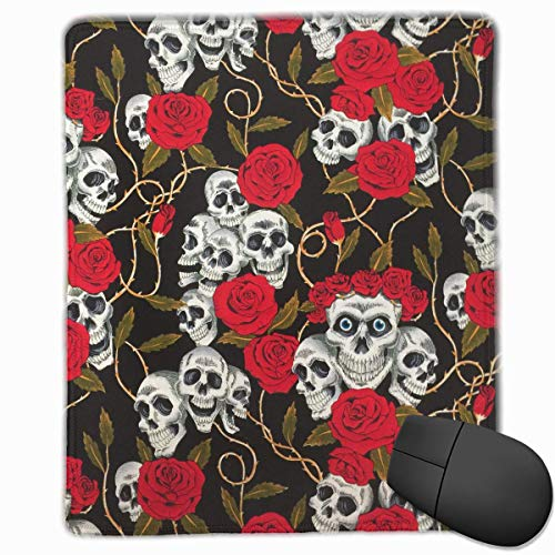 Skull Red Rose Quality Comfortable Game Base Mouse Pad with Stitched Edges Size 11.81 9.84 Inch -