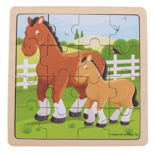 Bigjigs Toys Chunky Wooden Horse & Foal Puzzle, Multicolored
