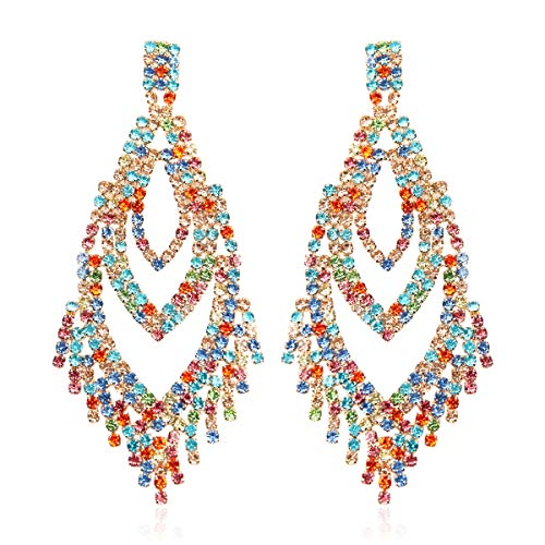 RIAH FASHION Sparkly Geometric Rhinestone Chandelier Hoop Statement Earrings - Cubic Zirconia Crystal Bridal Duster Dangles Fringe Tassel/Waterfall Drape/Circle Ring (Peacock Feather - Multicolor)