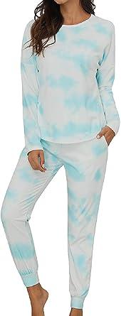 Tuopuda Pijamas Mujer Conjunto de Pijamas de Mujeres Suave Cómodo Tie Dye Impresión Manga Larga Sudaderas Pijamas Conjuntos Casual Loungewear Chándal ...