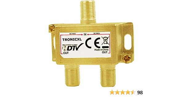 TronicXL DVB-T2 DVBC - Distribuidor de antena de televisión por satélite (2 tomas, conector F (por ejemplo, para televisión por cable, Unitymedia, ...