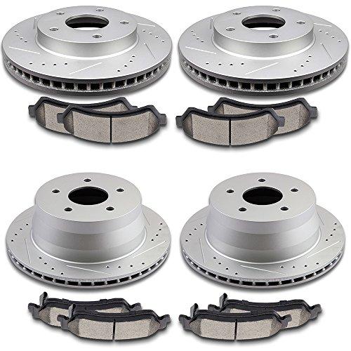 SCITOO Brake Kits, 4pcs Drilled Slotted Brake Rotors 8pcs Ceramic Disc Brake Pads fit 2001-2004 Chevy S10,1998-2005 Chevy Blazer,1998-2001 GMC Jimmy,1997-2001 Oldsmobile Bravada -