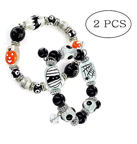 Linpeng Pumpkin & Zombie Stretch Set Halloween Bracelets, Black White Orange