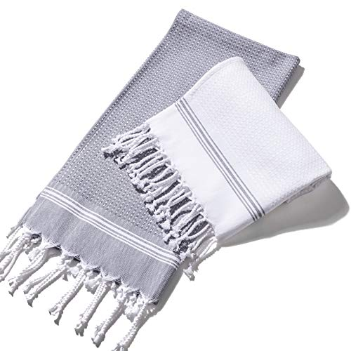 Evopin - Turkish Hand Towels for Bathroom Hair Face Kitchen Towel - 100% Cotton Decorative Striped Towel - Size (18''X35'') - Grey & White (Set of 2)