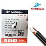Northshipco 1,000 ft RG59 UL+ 2DC 18/2 CABLES 0.81mm CS black Bond-foil, Easy pull box Siamese CCTV Coaxial Cable
