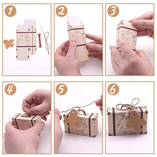 VGOODALL Süßigkeitenschachtel, 60 Mini-Koffer Gastgeschenkbox mit Flugzeug Anhänger aus Kraftpapier Schnuren für Hochzeit Geburtstagsfeier