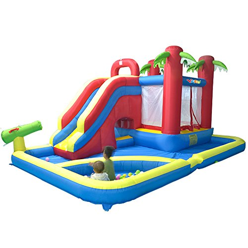 Rainbow Bounce House (YARD Inflatable Water Slide Bounce House Combo Kids Play Park with Ball Pit)