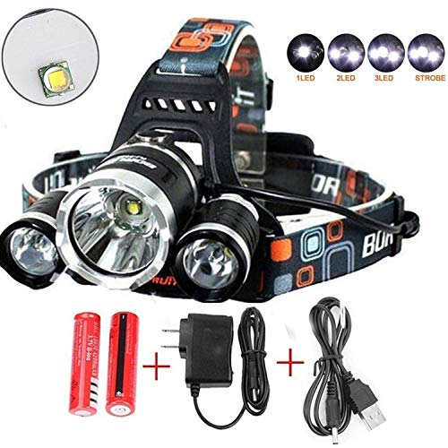 Best Led Headlamp Flashlight,Super Bright 10000 Lumens Headlight,Waterproof Hard Hat Light ,Bright Head Lights-Improved Led, Rechargeable18650 Batteries for Hunting Fishing Outdoor Sports(Silver) by Szxhf