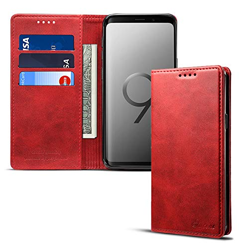 Samsung S9 Smart Leather Wallet Cell Phone Card Holder Case Kickstand Protective Flip Cover, - Wallet Leather Case Phone Fire